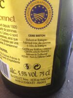 Cidre Breton - Ingredients