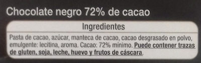 Chocolate negro 72% cacao - Ingredientes