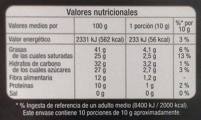 Chocolate negro 72% cacao - Informació nutricional - es