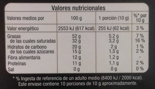 Chocolate 85% - Nutrition facts