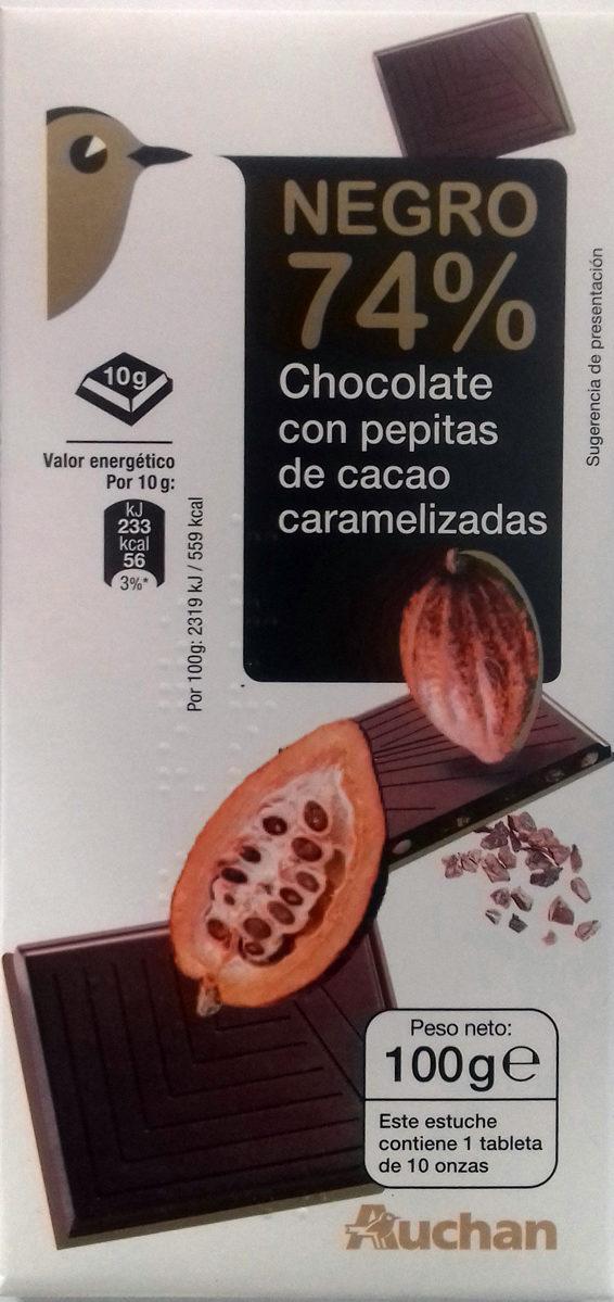 Chocolate negro 74% con pepitas de cacao caramelizadas - Producte - es