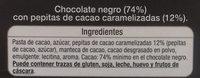 Chocolate negro 74% con pepitas de cacao caramelizadas - Ingredients - es