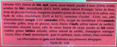 Bûche Pâtissière Roulée Arôme Nougat - Ingrediënten