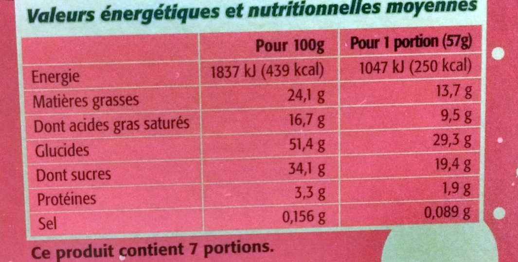 Bûche Pâtissière Roulée Arôme Nougat - Voedingswaarden