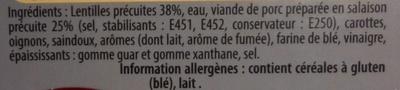 Les cocottes - Petit salé aux lentilles - Ingrediënten - fr