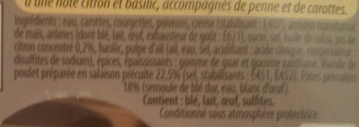 Les Cocottes Poulet au Citron - Ingredients - fr