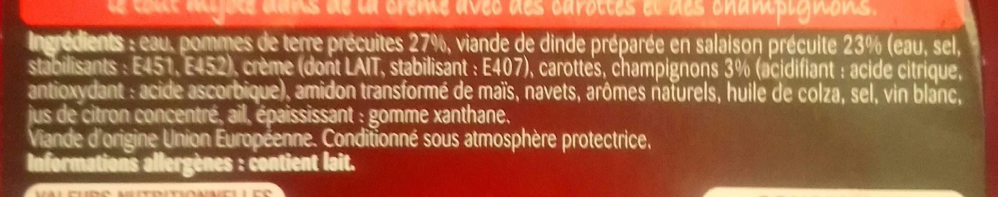 Cocotte Blanquette de Dinde pommes de terre et champignons - Ingrédients - fr