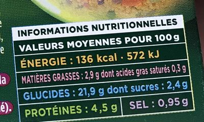 Taboule oriental - Nutrition facts