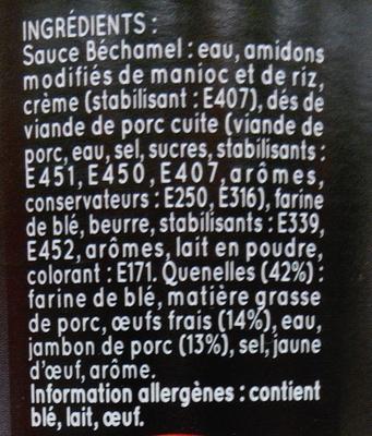 Maxi Quenelles à Gratiner, Jambon sauce béchamel - Ingrédients