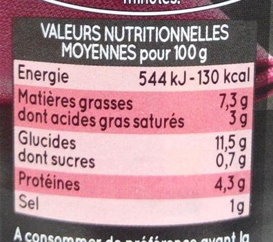Maxi Quenelles à Gratiner, Jambon sauce béchamel - Informations nutritionnelles