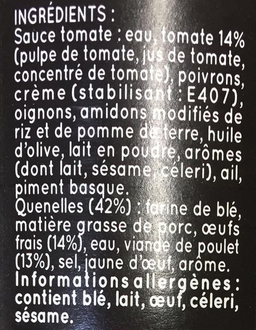 Maxi Quenelles à Gratiner (Poulet Sauce Tomate au piment basque) - Ingrédients - fr