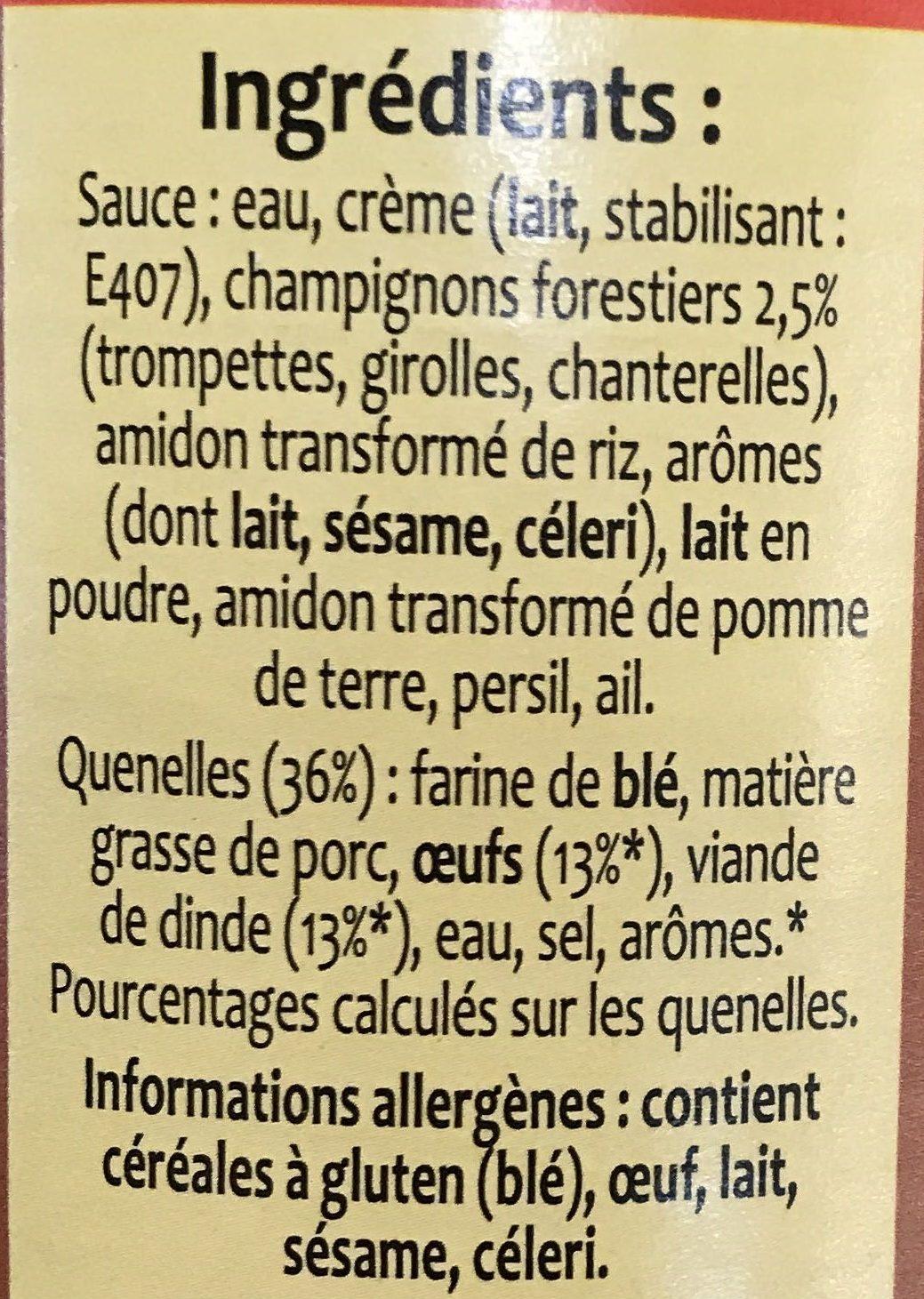 6 Quenelles de Volaille sauce forestière - Ingrédients