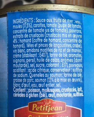 Garniture Pour Bouchées aux Fruits de Mer - Ingrediënten
