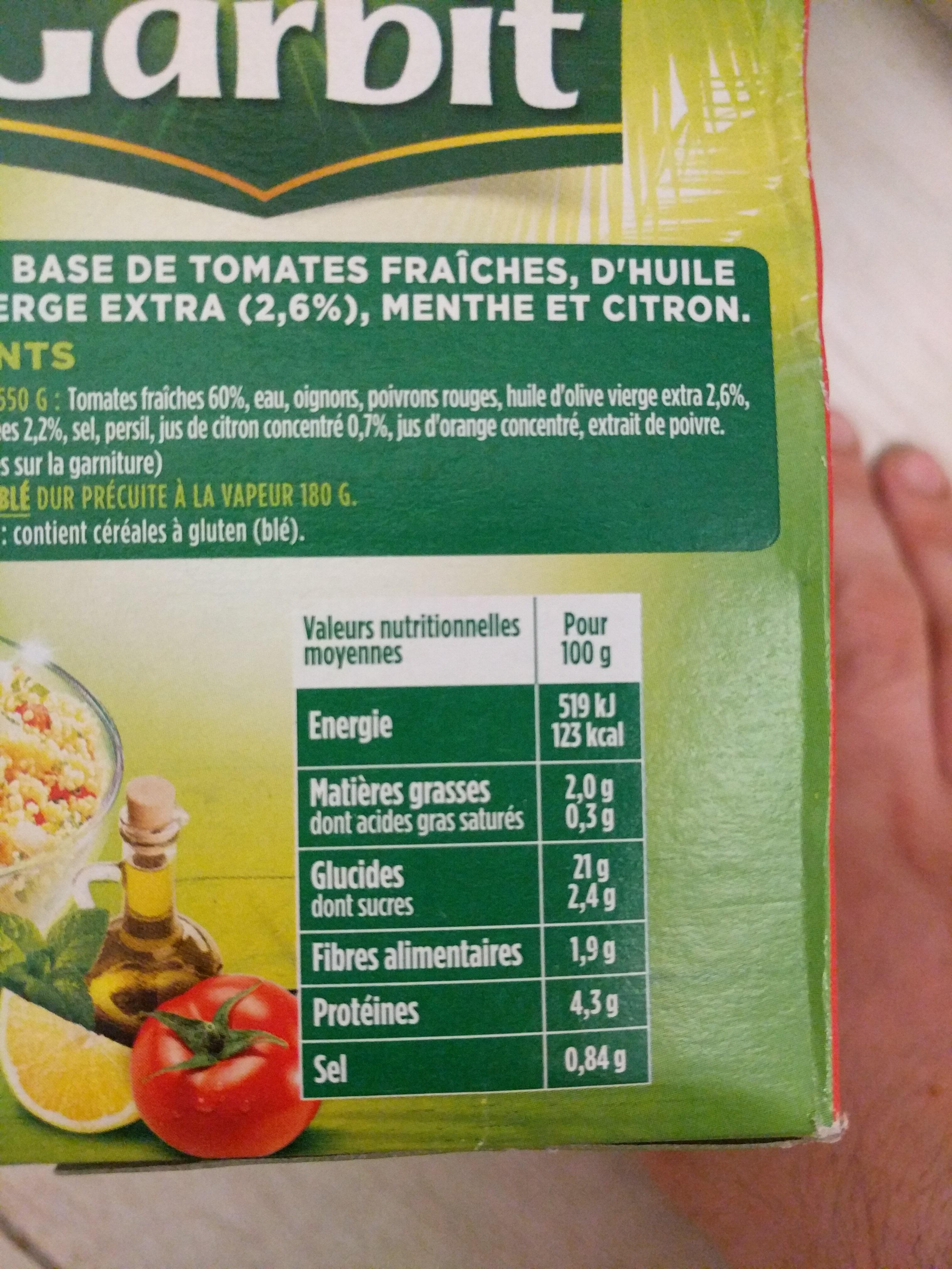 Taboulé aux Tomates Fraîches - Voedingswaarden - fr