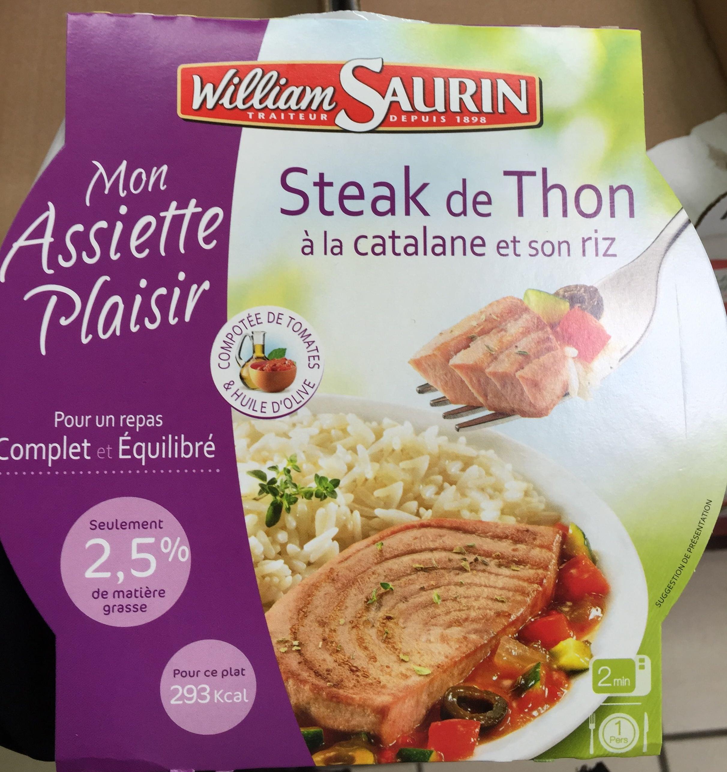 Mon Assiette Plaisir, Steak de Thon à la catalane et son riz (2,5 % MG) - Product - fr