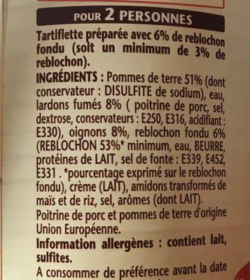 Tartiflette au Reblochon - Ingredients