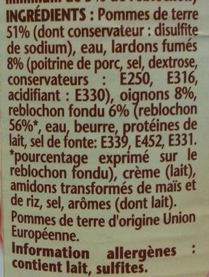 La Tartiflette au Reblochon - Ingredients