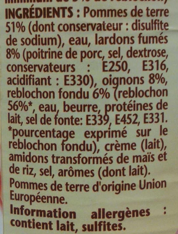 La Tartiflette au Reblochon - Ingredients - fr