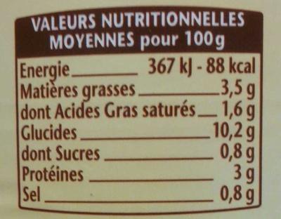 La Tartiflette au Reblochon - Nutrition facts