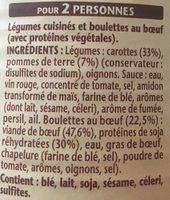 Les Boulettes Au Bœuf, Carottes et Pommes de Terre - Ingrediënten - fr