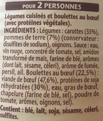 Les Boulettes Au Bœuf, Carottes et Pommes de Terre - Ingrediënten