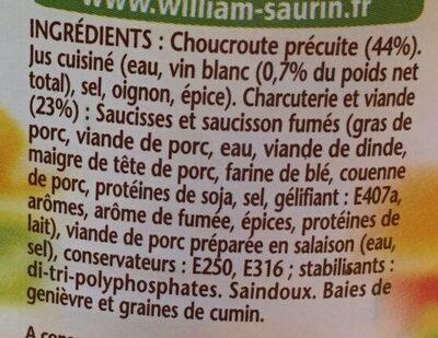 La choucroute garnie au vin blanc - Inhaltsstoffe - fr
