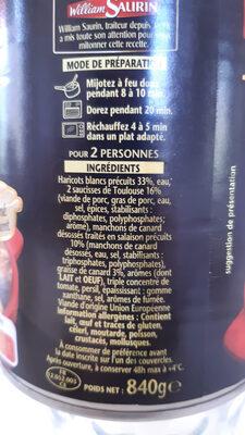 Cassoulet du Languedoc au  Canard - Cuisiné à la graisse de Canard - Ingrédients - fr