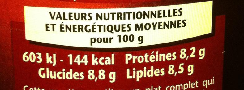 Cassoulet du Languedoc au  Canard - Cuisiné à la graisse de Canard - Informations nutritionnelles - fr