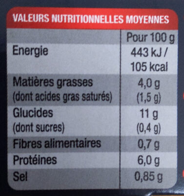 Blanquette de veau aux champignons et son riz - Voedingswaarden - fr