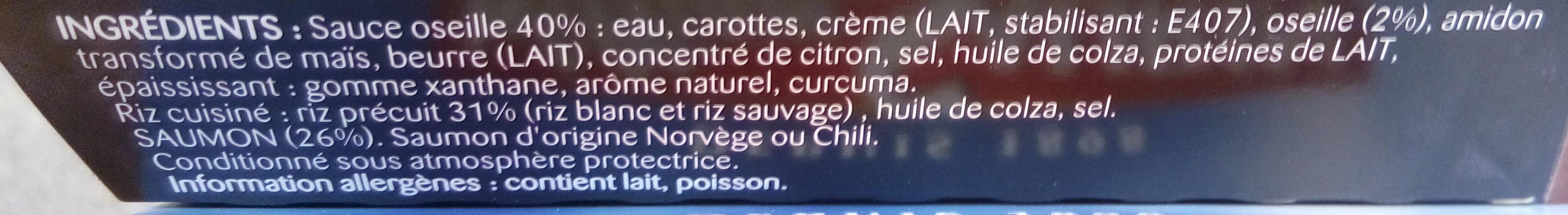 Saumon sauce Oseille et riz pilaf - Ingredients - fr