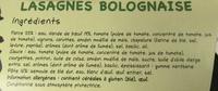 Lasagnes Bolognaise - Ingrediënten - fr