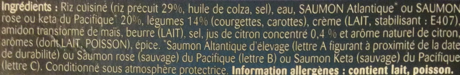 Les Cocottes Saumon au Citron - Ingredients