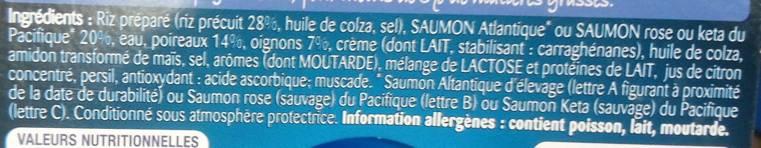 Saumon fondue de poireaux, Riz et oignons - Ingrediënten - fr