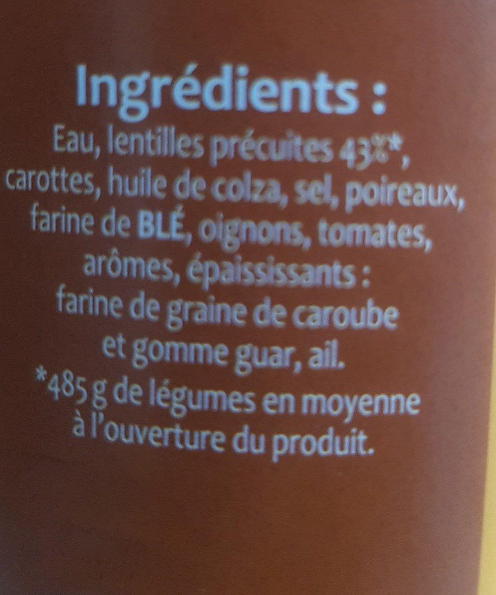 Lentilles Cuisinées Saint Benoît - Ingredients