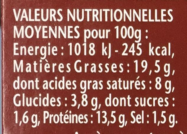 Terrine de Poulet Rôti au Romarin - Informations nutritionnelles - fr