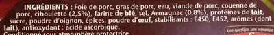 Terrine de Campagne (Ciboulette & Armagnac) - Ingredients - fr