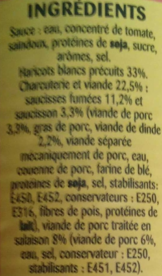 Cassoulet - Ingredients - fr