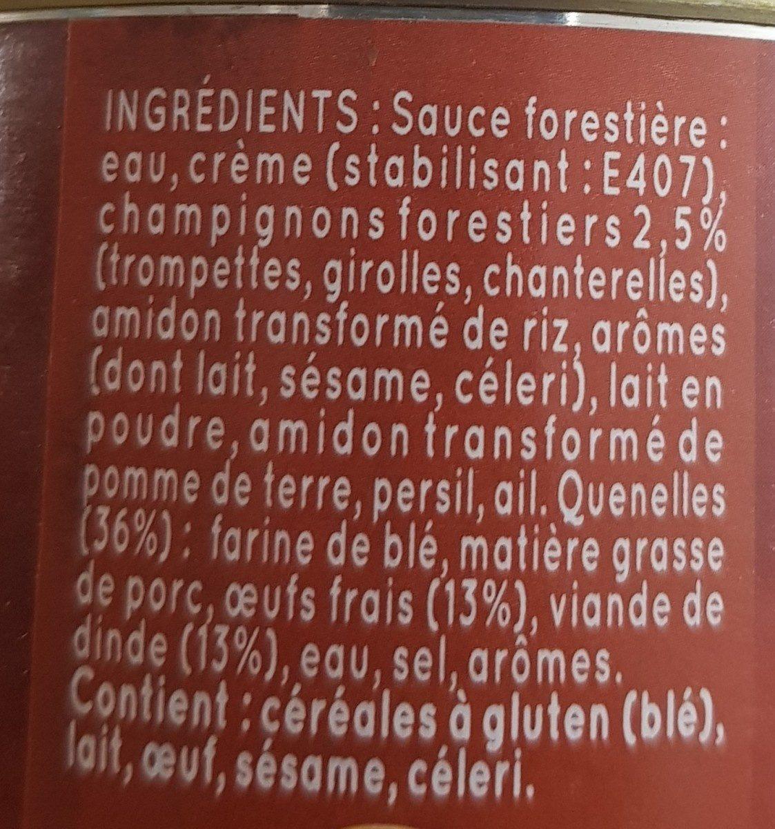 Quenelles de volaille sauce forestière - Ingrediënten - fr