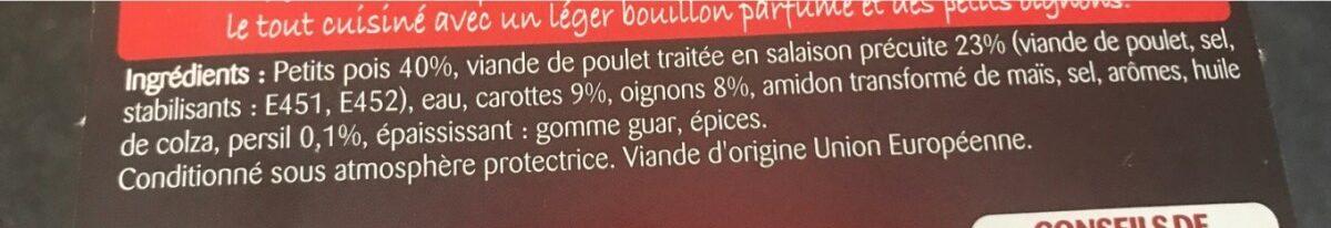 Les Cocottes Poulet Petits pois Carottes - Ingrediënten
