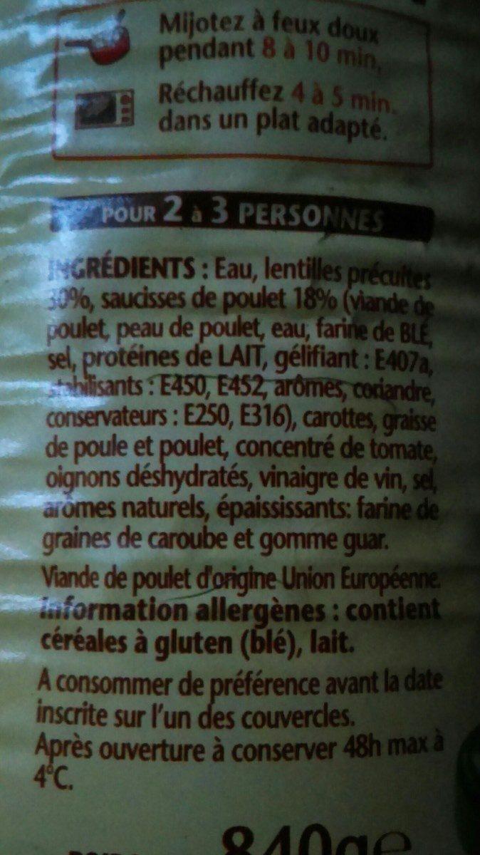 Les saucisses aux lentilles 100% Poulet - Ingrédients - fr