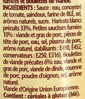 Ma recette façon Cassoulet mini Knacks et boulettes de viande - Ingrédients - fr