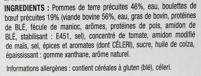 Boulettes de boeuf à l'orientale et pommes de terre - Ingrediënten - fr