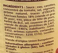 Les Saucisses aux Lentilles - Ingrédients - fr