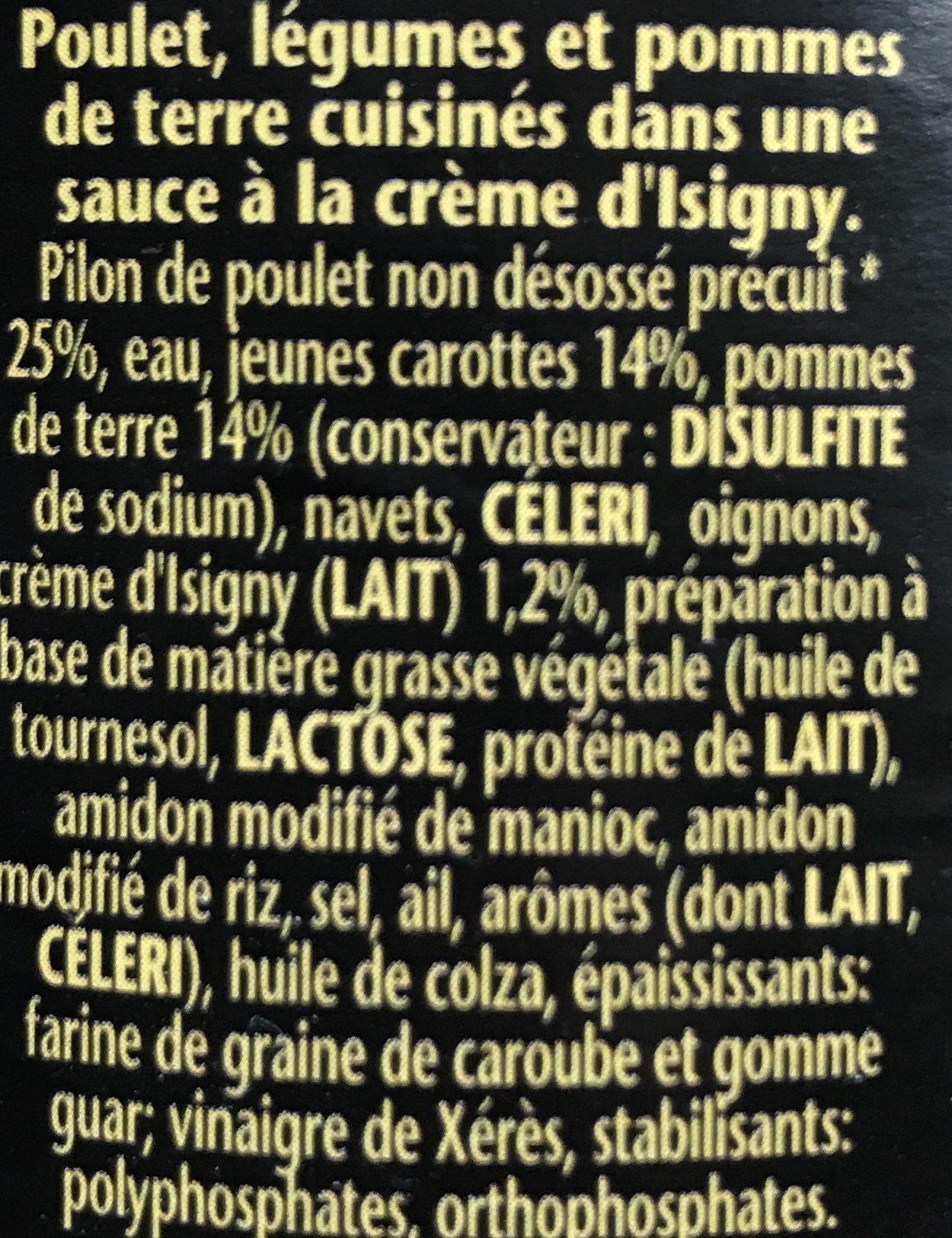 Volaille à la Crème d'Isigny et jeunes carottes - Ingrédients