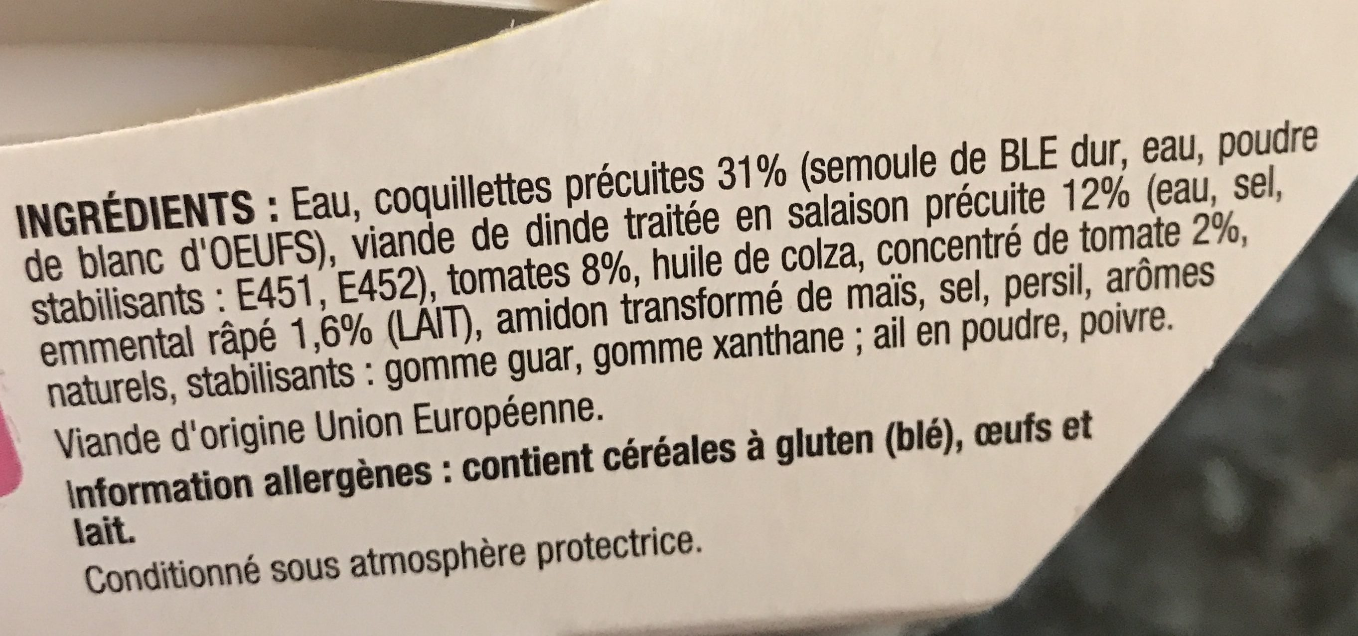 Coquillettes dinde emmental sauce tomate - Ingredients