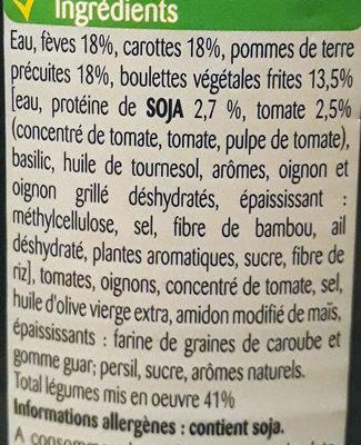 Boulettes de soja & tomates, fèves & carottes à la Provencale - Ingrédients