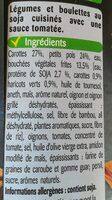 Bouchées de soja et légumes - Ingredients