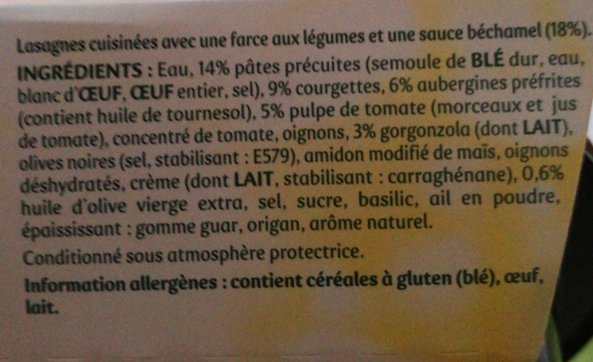 Lasagnes légumes du soleil et gorgonzola - Ingrédients - fr