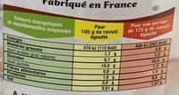 Ravioli prêt à cuisiner farci à la viande & sans sauce - Informations nutritionnelles - fr