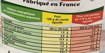 Ravioli prêt à cuisiner farci aux légumes & sans sauces - Informations nutritionnelles - fr